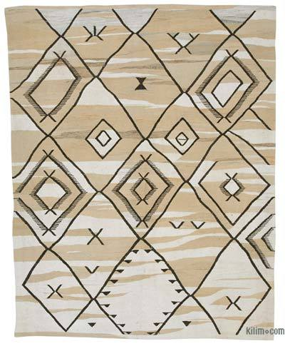 Beige New Contemporary Handwoven Wool Rug - 7'11'' x 10' (95 in. x 120 in.) - Old Yarn