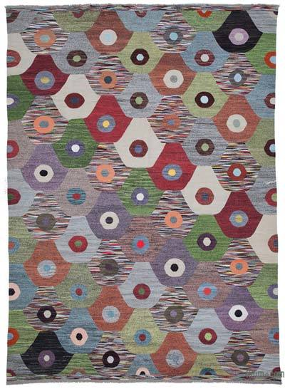 Multicolor New Contemporary Handwoven Wool Rug - 10' x 13'11'' (120 in. x 167 in.) - Old Yarn