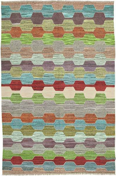 New Contemporary Handwoven Wool Rug - 6'9'' x 10'3'' (81 in. x 123 in.) - Old Yarn