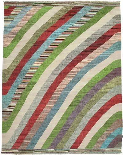 Multicolor New Contemporary Handwoven Wool Rug - 8'7'' x 10'9'' (103 in. x 129 in.) - Old Yarn
