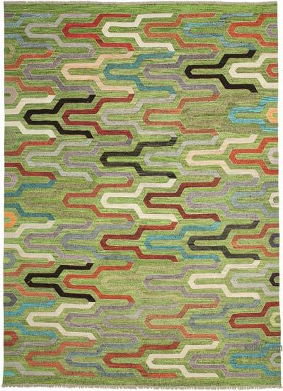 "New Contemporary Handwoven Wool Rug - 9'11"" x 14'1"" (119 in. x 169 in.) - Old Yarn"