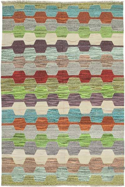 New Contemporary Handwoven Wool Rug - 6'9'' x 10'2'' (81 in. x 122 in.) - Old Yarn