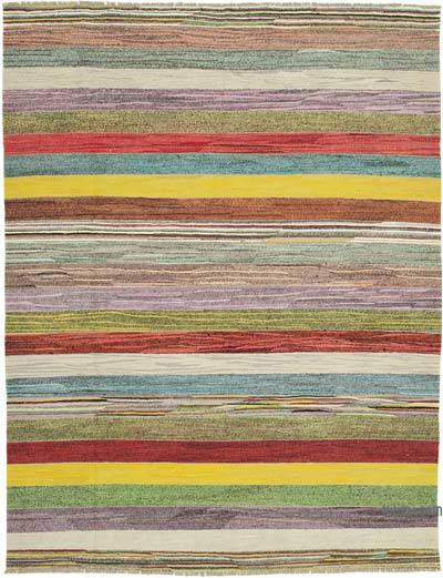 "New Contemporary Handwoven Wool Rug - 8'7"" x 11' (103 in. x 132 in.) - Old Yarn"