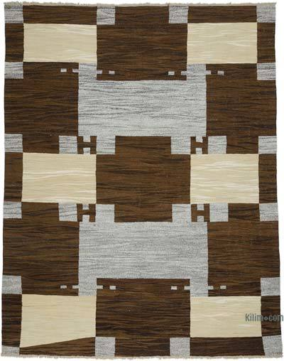 "New Contemporary Handwoven Wool Rug - 8'1"" x 10'4"" (97 in. x 124 in.) - Old Yarn"