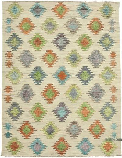 Beige, Multicolor New Contemporary Handwoven Wool Rug - 7'11'' x 10'5'' (95 in. x 125 in.) - Old Yarn