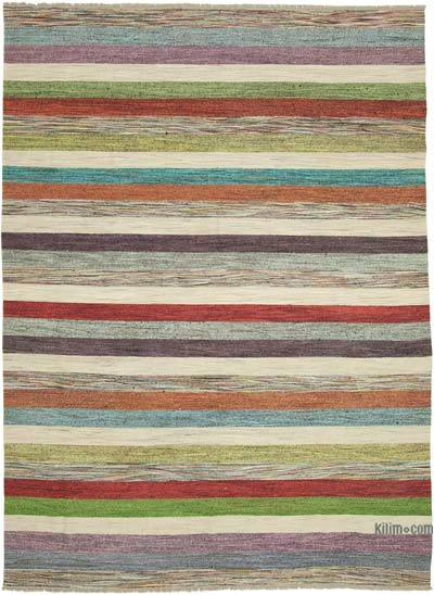 Multicolor New Contemporary Handwoven Wool Rug - 8'10'' x 12'4'' (106 in. x 148 in.) - Old Yarn