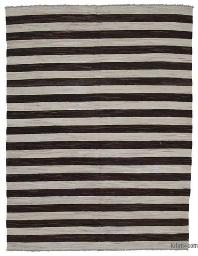 "New Contemporary Handwoven Wool Rug - 7'11"" x 10'6"" (95 in. x 126 in.) - Old Yarn"