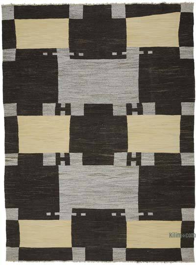 "New Contemporary Handwoven Wool Rug - 9'2"" x 12'6"" (110 in. x 150 in.) - Old Yarn"