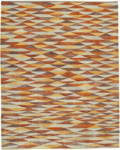 Multicolor, Orange New Contemporary Handwoven Wool Rug - 8'5'' x 10'11'' (101 in. x 131 in.) - Old Yarn