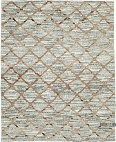 "New Contemporary Handwoven Wool Rug - 8'2"" x 10'1"" (98 in. x 121 in.) - Old Yarn"