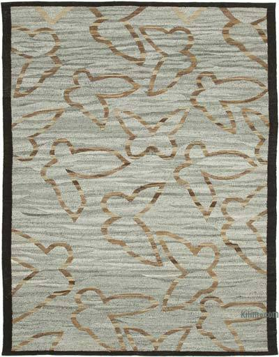"New Contemporary Handwoven Wool Rug - 7'9"" x 10'1"" (93 in. x 121 in.) - Old Yarn"