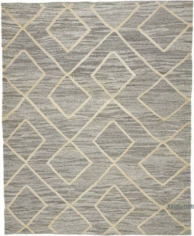 Grey New Contemporary Handwoven Wool Rug - 7'10'' x 9'10'' (94 in. x 118 in.) - Old Yarn