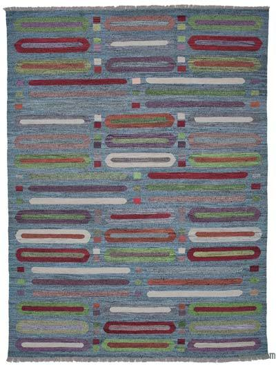 Multicolor New Contemporary Handwoven Wool Rug - 9' x 12'4'' (108 in. x 148 in.) - Old Yarn