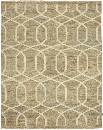 "New Contemporary Handwoven Wool Rug - 8'2"" x 10'2"" (98 in. x 122 in.) - Old Yarn"