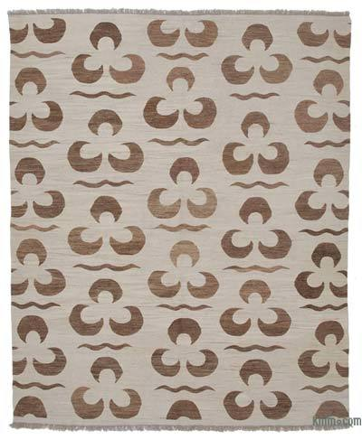 Beige New Contemporary Handwoven Wool Rug - 8'4'' x 10'1'' (100 in. x 121 in.) - Old Yarn