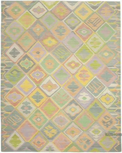 Multicolor New Contemporary Handwoven Wool Rug - 10'3'' x 13'1'' (123 in. x 157 in.) - Old Yarn