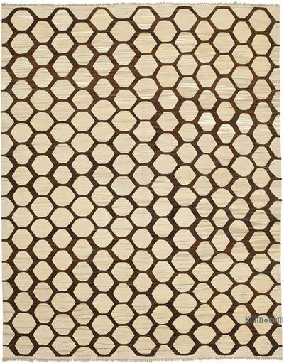 Beige, Brown New Contemporary Handwoven Wool Rug - 8'1'' x 10'3'' (97 in. x 123 in.) - Old Yarn