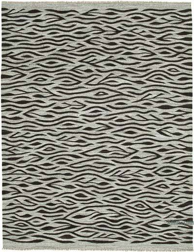 "New Contemporary Handwoven Wool Rug - 8'2"" x 10'8"" (98 in. x 128 in.) - Old Yarn"