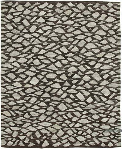 "New Contemporary Handwoven Wool Rug - 8'1"" x 10'1"" (97 in. x 121 in.) - Old Yarn"