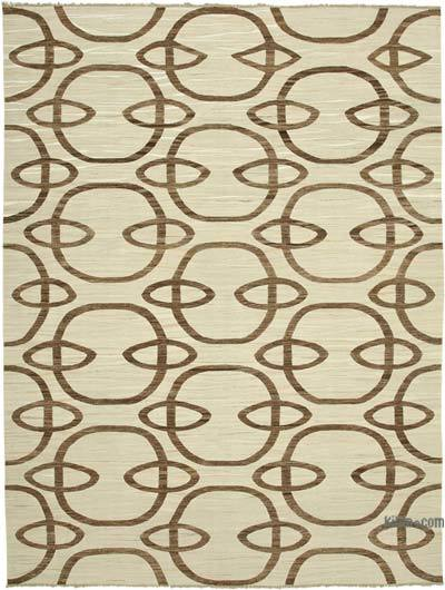 New Contemporary Handwoven Wool Rug - 9'1'' x 12'5'' (109 in. x 149 in.) - Old Yarn