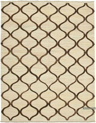 "New Contemporary Handwoven Wool Rug - 7'10"" x 10'2"" (94 in. x 122 in.) - Old Yarn"