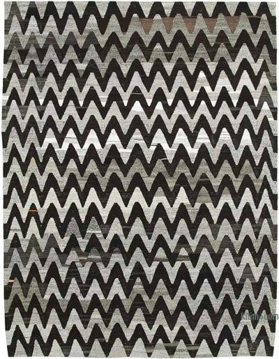 New Contemporary Handwoven Wool Rug - 7'7'' x 10' (91 in. x 120 in.) - Old Yarn