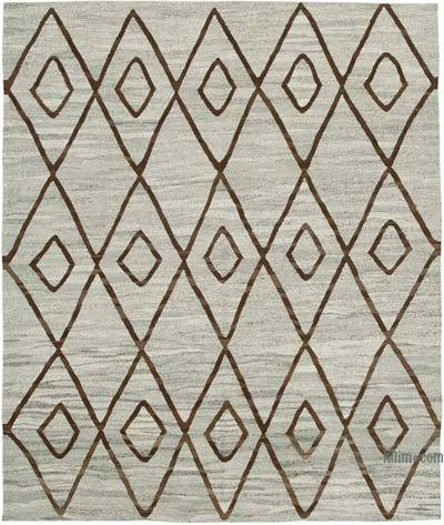 "New Contemporary Handwoven Wool Rug - 8' x 9'6"" (96 in. x 114 in.) - Old Yarn"
