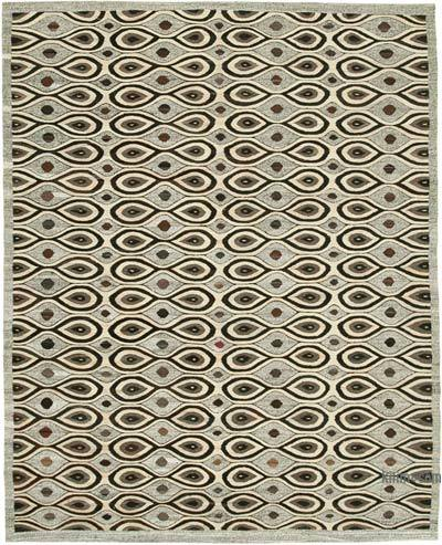 "New Contemporary Handwoven Wool Rug - 7'10"" x 10' (94 in. x 120 in.) - Old Yarn"