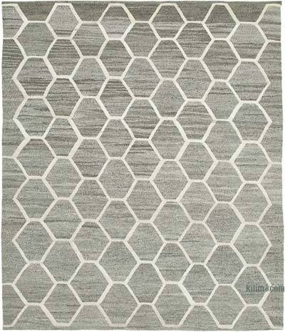 "New Contemporary Handwoven Wool Rug - 8'3"" x 9'11"" (99 in. x 119 in.) - Old Yarn"