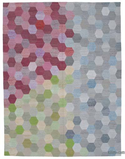 Multicolor New Contemporary Handwoven Wool Rug - 8'6'' x 11'2'' (102 in. x 134 in.) - Old Yarn