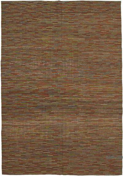 "New Contemporary Handwoven Wool Rug - 8'4"" x 11'10"" (100 in. x 142 in.) - Old Yarn"