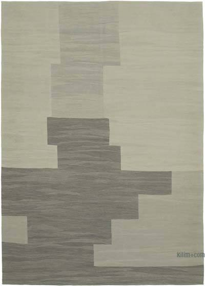 "New Contemporary Handwoven Wool Rug - 7'3"" x 10'4"" (87 in. x 124 in.) - Old Yarn"