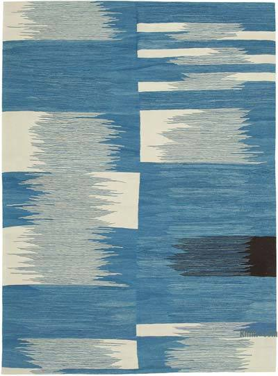 "New Contemporary Handwoven Wool Rug - 7'4"" x 10'2"" (88 in. x 122 in.) - Old Yarn"