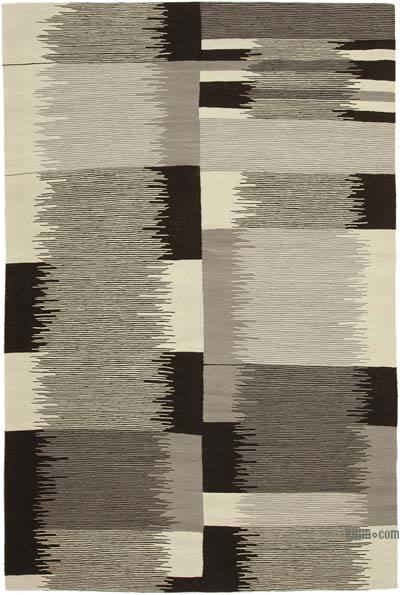 New Contemporary Handwoven Wool Rug - 7'1'' x 10'8'' (85 in. x 128 in.) - Old Yarn