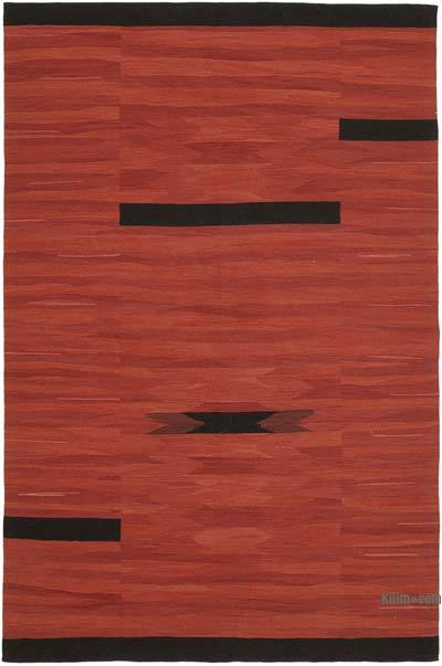 Red, Black New Contemporary Handwoven Wool Rug - 7' x 10'8'' (84 in. x 128 in.) - Old Yarn
