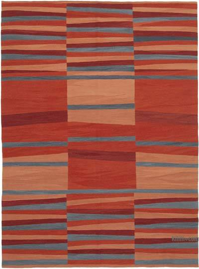 "New Contemporary Handwoven Wool Rug - 7'6"" x 10'2"" (90 in. x 122 in.) - Old Yarn"