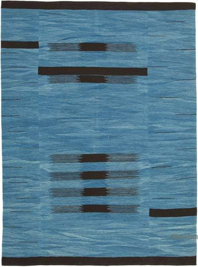 "New Contemporary Handwoven Wool Rug - 7'5"" x 10'1"" (89 in. x 121 in.) - Old Yarn"