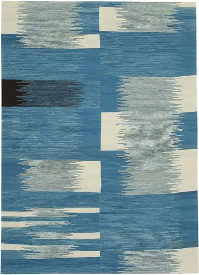 "New Contemporary Handwoven Wool Rug - 7'3"" x 10'1"" (87 in. x 121 in.) - Old Yarn"