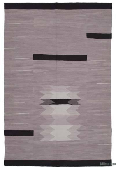 "New Contemporary Handwoven Wool Rug - 6'11"" x 10'7"" (83 in. x 127 in.) - Old Yarn"