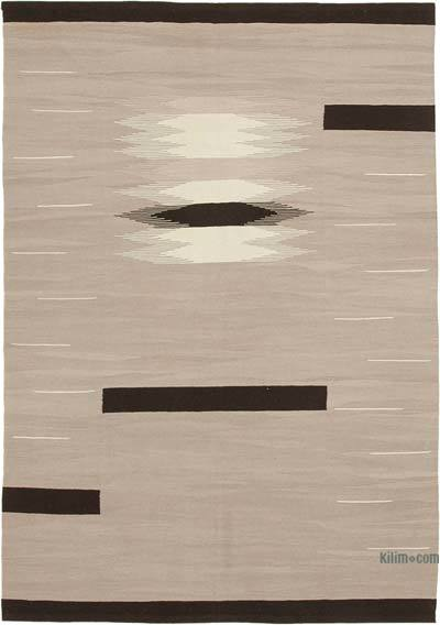 "New Contemporary Handwoven Wool Rug - 5'10"" x 8'4"" (70 in. x 100 in.) - Old Yarn"