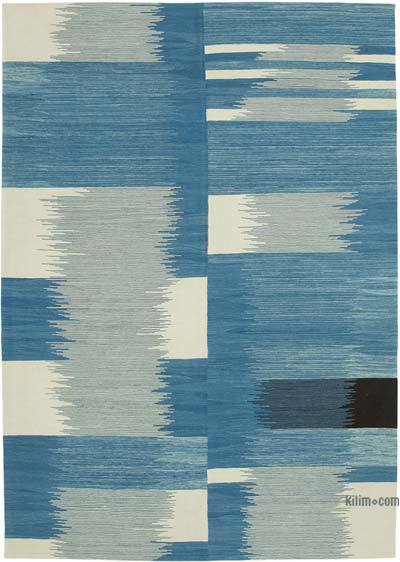 "New Contemporary Handwoven Wool Rug - 7'3"" x 10'5"" (87 in. x 125 in.) - Old Yarn"