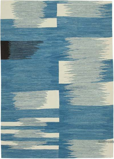 "New Contemporary Handwoven Wool Rug - 7'2"" x 10'4"" (86 in. x 124 in.) - Old Yarn"