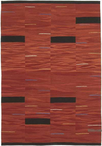 "New Contemporary Handwoven Wool Rug - 5'9"" x 8'5"" (69 in. x 101 in.) - Old Yarn"
