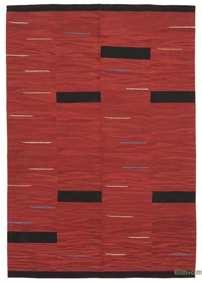 "New Contemporary Handwoven Wool Rug - 5'10"" x 8'6"" (70 in. x 102 in.) - Old Yarn"