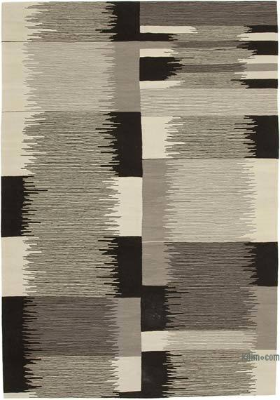 New Contemporary Handwoven Wool Rug - 7'2'' x 10'6'' (86 in. x 126 in.) - Old Yarn