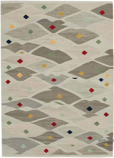 Grey, Multicolor New Contemporary Handwoven Wool Rug - 6'9'' x 9'6'' (81 in. x 114 in.) - Old Yarn