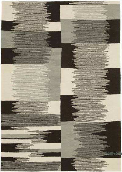 New Contemporary Handwoven Wool Rug - 5'9'' x 8'2'' (69 in. x 98 in.) - Old Yarn