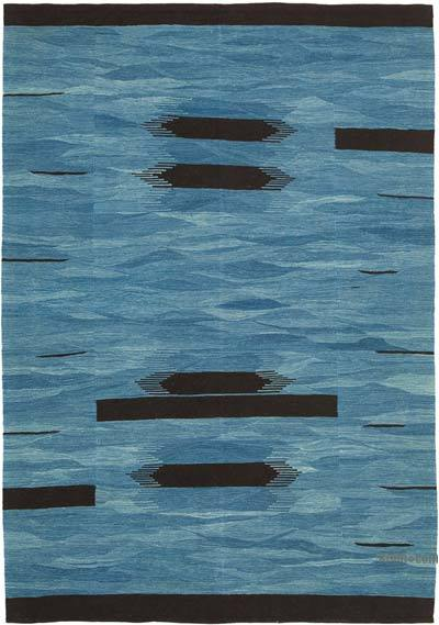 Blue New Contemporary Handwoven Wool Rug - 5'11'' x 8'4'' (71 in. x 100 in.) - Old Yarn