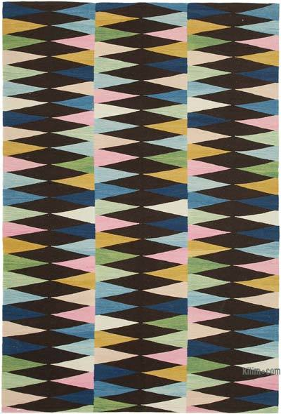 New Contemporary Handwoven Wool Rug - 5'9'' x 8'6'' (69 in. x 102 in.) - Old Yarn