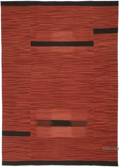 "New Contemporary Handwoven Wool Rug - 7'3"" x 10'3"" (87 in. x 123 in.) - Old Yarn"